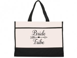 Bride Tribe Design Black and Natural Tote Bag image