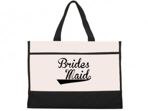 Bridesmaid Design Black and Natural Tote Bag image