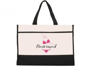 Bridesmaid Bikini Design Black and Natural Tote Bag image