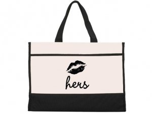 Hers Smooch Design Black and Natural Tote Bag image