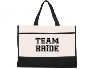 Team Bride Design Black and Natural Tote Bag image