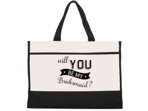 Will You Be My Bridesmaid Banner Design Natural Tote Bag image