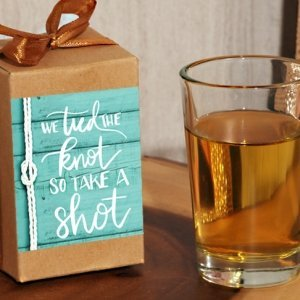 We Tied The Knot so Take a Shot Boxed Shot Glass Favor image