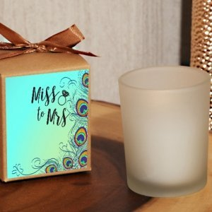 From Miss. to Mrs. Peacock Themed Rustic Boxed Candle Favor image