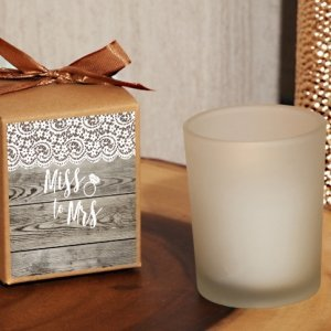 Rustic Lace From Miss. to Mrs. Kraft Boxed Candle Favor image