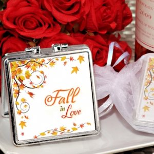 Fall In Love Silver Compact Mirror Favors image
