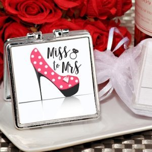 From Miss. to Mrs. High Heel Silver Compact Mirror Favors image