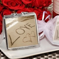 Love on the Beach Silver Compact Mirror Favors