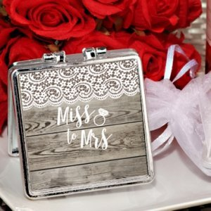 Rustic Lace Miss. to Mrs. Silver Compact Mirror Favors image