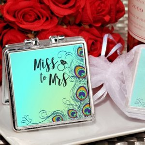 From Miss. to Mrs. Peacock Design Silver Compact Mirror Favo image