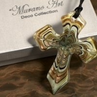 Art Deco Shades of Gold Glass Cross Favors