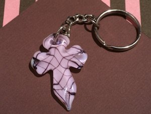 Art Deco Pink and Brown Glass Cross Keychain Favors image