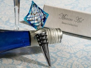 Art Deco Ocean Blue Sailboat Design Wine Stopper Favors image
