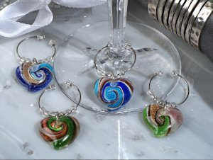 Murano Design Glass Heart Wine Charm Favors image