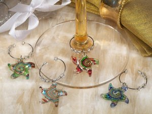 Starfish Swirl Glass Wine Charm Favors (Set of 4) image