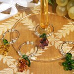 Grape Design Glass Wine Charm Favors (Set of 4)