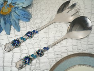 Art Deco Blue Beads Salad Server Set image