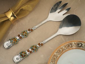 Art Deco Amber Beads Salad Server Set image