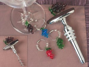 Murano Grapes Wine Opener-Stopper Combo with Charm Set image
