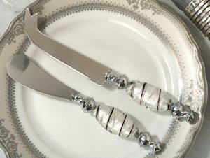 Murano Art Deco Cheese Knife and Spreader Set image