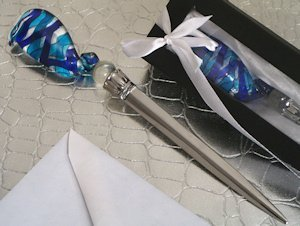 Blue and Silver Swirl Art Deco Letter Opener Favor image