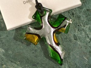 Art Deco Green Glass Cross Favors image