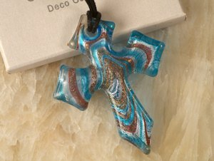 Art Deco Gold and Blue Murano Glass Cross Favors image