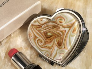 Heart Design Golden Brown Glass Compact Mirror Favors image