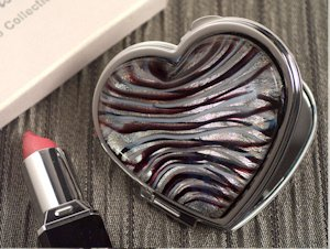 Heart Design Silver and Burgundy Glass Compact Mirror Favors image