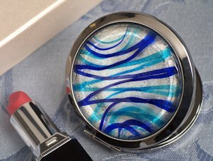 Silver and Blue Glass Round Compact Mirror Favors image