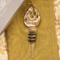 Art Deco Gold Teardrop Design Glass Bottle Stopper Favors