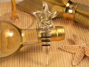 Starfish Design Gold Glass Bottle Stopper Favors image