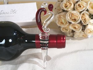 Two Hearts Murano Glass Bottle Stopper image