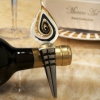 Art Deco Gold Teardrop Design Wine Stopper Favor