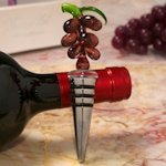 Art Deco Glass Grape Design Wine Stopper