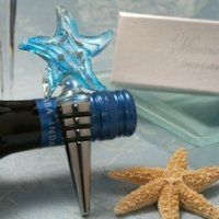 Blue and Silver Glass Starfish Wine Stopper Favors