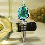 Bottle Stopper Murano Glass Wedding Favors - Teal Teardrop
