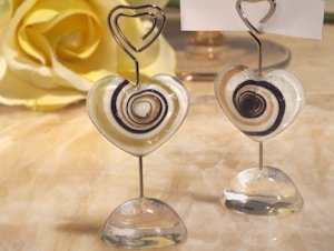 Art Deco Glass Heart Place Card Holders image