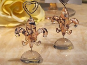 Art Deco Glass Fleur De Lis Place Card Holders image