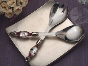 Art Deco Glass Swirls Salad Server Set image