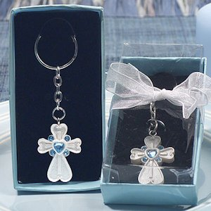 White Cross Keychain with Blue Crystals image
