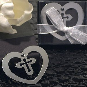 Heart Shaped Metal Bookmark w/ Cross image