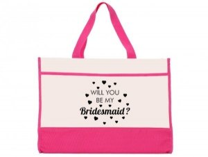 Will You Be My Bridesmaid Heart Black Pink and Natural Tote image