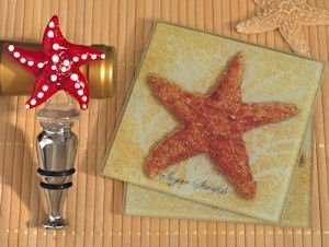 Murano Starfish Design Coaster and Bottle Stopper Set image