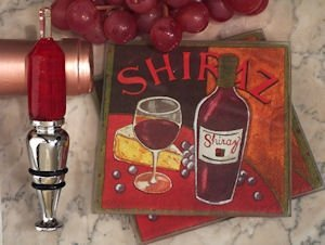 Art Deco Red Wine Design Coaster and Bottle Stopper Set image