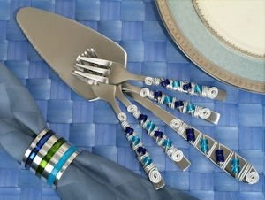 Murano Blue Beads Cake Server and Dessert Forks Set image