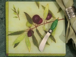 Art Deco Olives Wine Design Cheese Board and Knife Set image