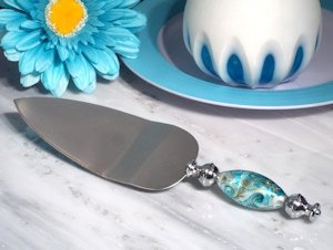 Stunning Murano Art Silver and Teal Cake Server image