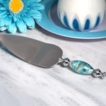 Stunning Murano Art Silver and Teal Cake Server
