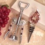 Murano Teardrop Mauve and Gold Wine Stopper & Opener Set